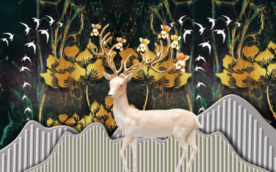Fototapeta christmas background with deer