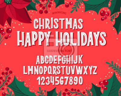 Fototapeta Christmas font. Holiday typography alphabet with festive illustrations and season wishes.