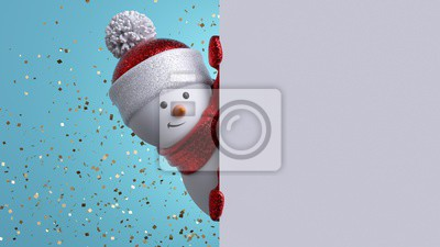 Fototapeta Christmas greeting card template. 3d snowman holding blank banner, looking at camera. Winter holiday background with gold confetti. Happy New Year mockup with copy space. Funny festive character.