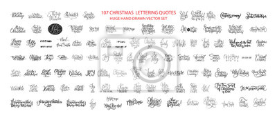 Fototapeta Christmas Hand Drawn Ink Lettering Vector Greeting Quotes. Merry Christmas and Happy New Year Big Textured Calligraphy Set. Xmas Typography Collection.