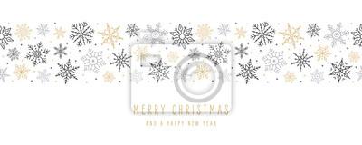Fototapeta Christmas snowflakes elements ornaments seamless banner greeting card on white background