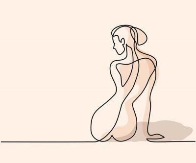 Fototapeta Ciągły rysunek linii. Kobieta siedzi z powrotem. Soft kolor wektora ilustracji