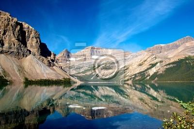 Fototapeta Cicha dekoracje Bow Lake z Gór Skalistych, odzwierciedlających