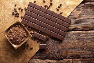 Fototapeta Ciemna czekolada ziarna, kakao i kawy