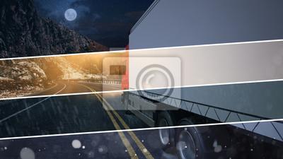 Fototapeta Ciężarówka z Spedition fährt bei jedem Wetter