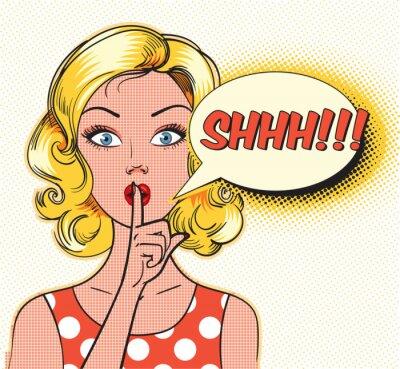 Fototapeta Ciii bańki. Pin up kobieta oddanie jej palec na ustach do spokojnej ciszy. Pop-art komiksów stylu. ilustracji wektorowych