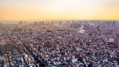 Fototapeta Citiscape Tokio o zachodzie słońca, Japonia