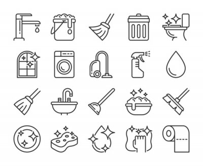 Fototapeta Cleaning icon. Cleaning and Household Supplies line icons set. Editable stroke.