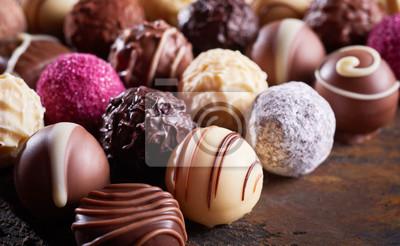 Fototapeta Close up detail of a luxury handmade chocolate