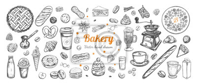 Fototapeta Coffee and Bakery vector hand drawn, elements. Template with vintage sketch illustrations , Different types of pastry and coffee, latte, capuccino, coffe to go cup