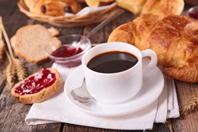 Fototapeta coffee cup and croissant