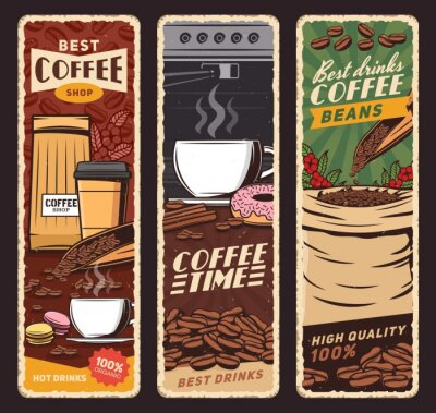 Fototapeta Coffee shop vector vintage banners, cafeteria and cafe menu. Coffee machine and cups of hot cappuccino, espresso and americano, latte and frappe with donut and macaron sweet desserts