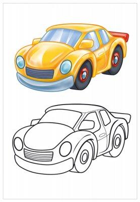Fototapeta coloring of yellow toy car