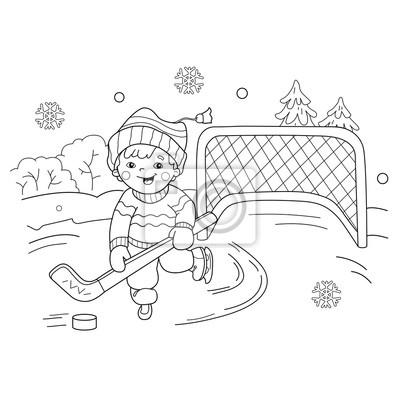 Coloring Page Outline Of Boy Cartoon Gry Hokeja Sporty Zimowe