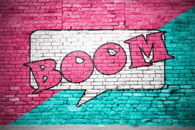 Fototapeta Comic Boom Ziegelsteinmauer Graffiti