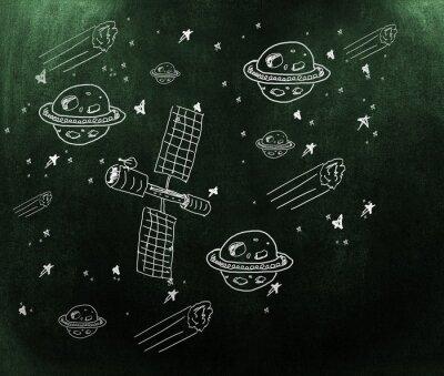 Fototapeta Composite obraz planety, gwiazdy i satelity