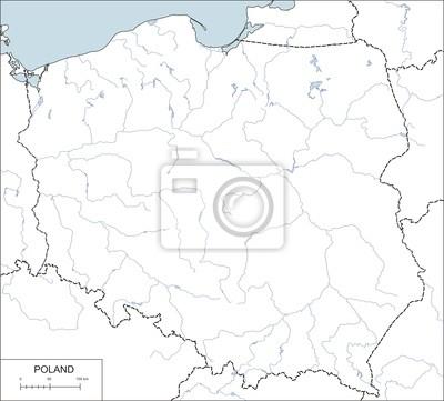 Contour Mapa Polski Z Rzek I Jezior Fototapeta Fototapety