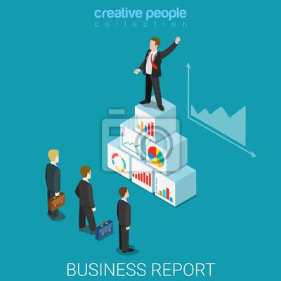 Corporate Raport Biznesowy Płaskim Izometria Izometryczny 3d