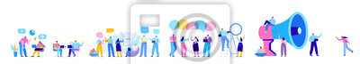 Fototapeta Creative team characters flat vector horizontal banner. Discussion people. Office workers life. Team thinking and brainstorming.  Flat vector illustration