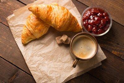 Fototapeta croissant z kawą