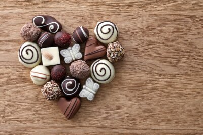 Fototapeta Cukierki czekoladowe serca