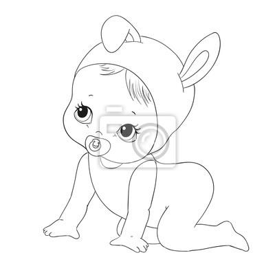 Cute Baby Charakteru Wektor Kolorowanka Fototapeta Fototapety