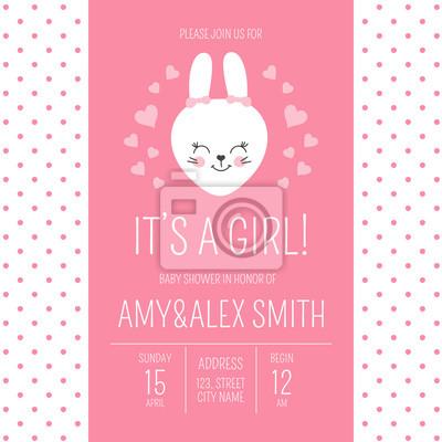 Fototapeta Cute Baby Shower Girl Invite Card Vector Template Cartoon Animal