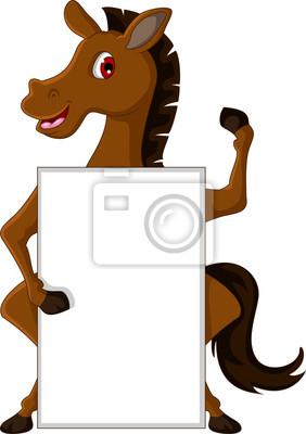 Fototapeta Cute cartoon brązowy koń z pustym znakiem