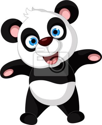 Fototapeta cute cartoon panda pozowanie