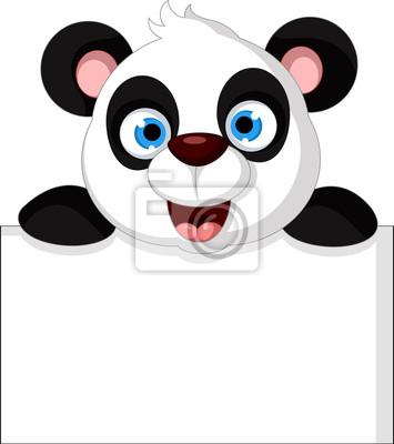 Fototapeta cute cartoon panda stwarzających z pustym znakiem
