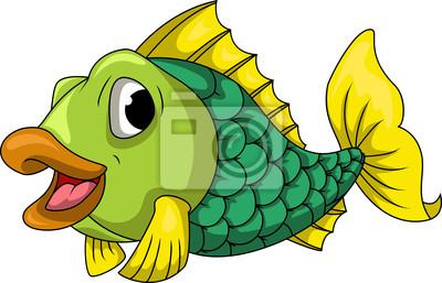 Fototapeta Cute cartoon ryb