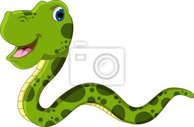 Fototapeta cute cartoon snake green