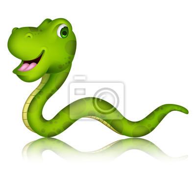 Fototapeta Cute cartoon zielony wąż na białym tle