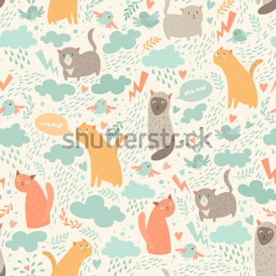 Fototapeta Cute cats vector seamless pattern. With hearts, birds, leaf