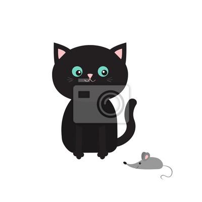 Cute Czarny Rysunek Siedzącego Kota Patrząc Na Myszy Wąsy Wąsy