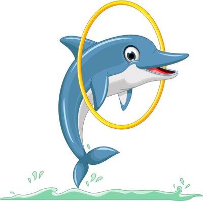 Fototapeta cute dolphin cartoon jumping