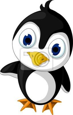 Fototapeta Cute little cartoon pingwina