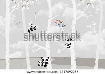 Fototapeta Cute pandas playing in the jungle