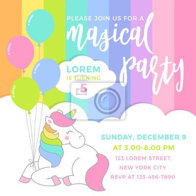 Fototapeta Cute Unicorn With Balloons Illustration For Party Invitation