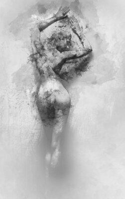 Fototapeta Cyfrowa akwarela nagiej kobiety
