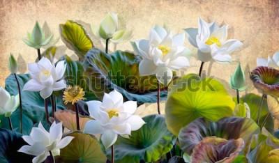 Fototapeta Cyfrowa ilustracja kwitnący biały Lotos kwitnie z zielonymi liśćmi na tle beżowe ściany w loft. Tapety i malowidła ścienne do drukowania wnętrz.