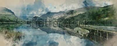 Fototapeta Cyfrowego akwarela obraz panoramy krajobrazowe wioślarskie łodzie na jeziorze z jetty przeciw pasma górskiego tłu