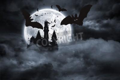 Fototapeta Cyfrowo generowane nietoperze latające z zamku draculas