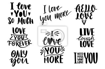 Cytaty Valentine Napis Kolekcja Miłości Ręcznie Rysowane Napis
