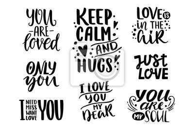 Cytaty Valentine Napis Kolekcja O Miłości Ręcznie Rysowane