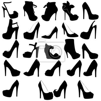 ecd06fce Fototapeta Czarne sylwetki kobiet buty na wysokich obcasach, odizolowane