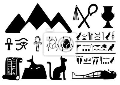 Czarne Sylwetki Starozytnych Egipskich Symboli I Dekoracji Egipt