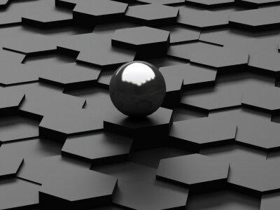 Fototapeta Czarne tło 3d sześciokątów i stalowej kuli
