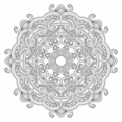 Fototapeta Czarno-białe abstrakcyjne okrągły wzór mandali etnicznych.