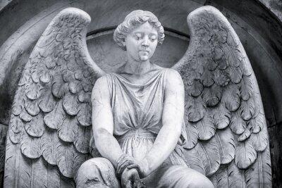 Fototapeta czarno-białe ujęcie anioła.